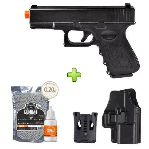 Pistola Airsoft Glock G15 Metal Spring + Coldre + Bbs + Óleo