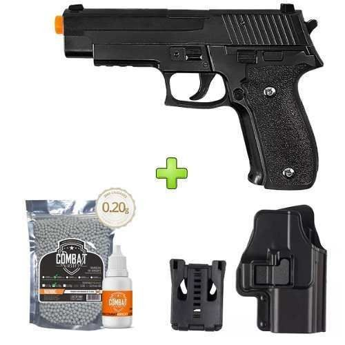 Pistola Airsoft Galaxy G26 Full Metal Spring + Coldre + BBs + Óleo