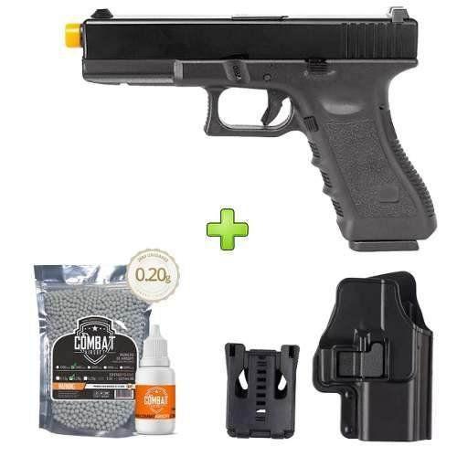 Pistola Airsoft Glock R17-BK Gbb Slide Metal+ Coldre+ Bbs+ Óleo