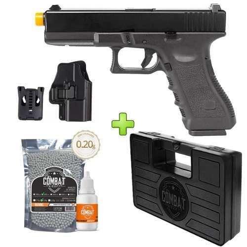 Pistola Airsoft Glock R17-BK Gbb Slidemetal+case+bb+óleo+coldre