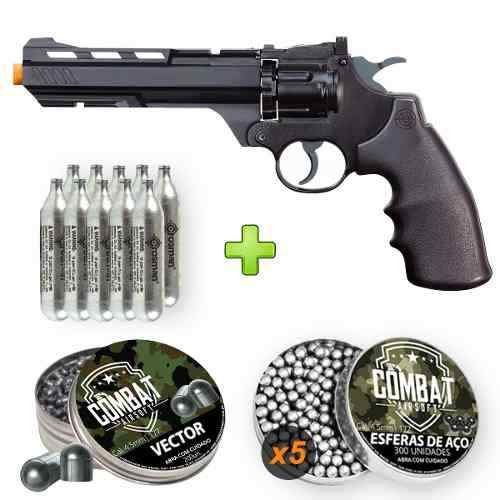 Revólver Crosman Vigilante 4.5mm + Co2 + Chumbinho + Esferas