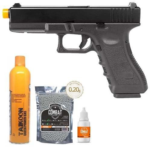 Pistola Airsoft Glock R17-BK Gbb Slide Metal + Green Gás + 2000 Bbs + Óleo de Silicone