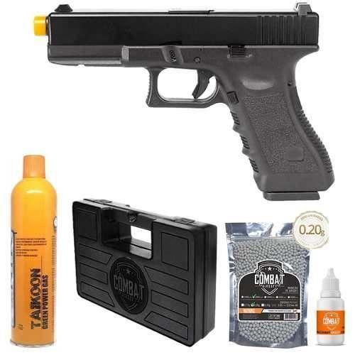 Pistola Airsoft Glock R17 Gbb Slide Metal+ Gás Bbs Óleo Case