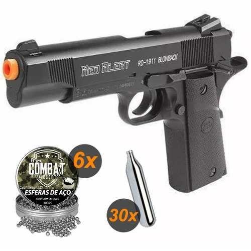 Pistola de Pressão Airgun Rd-1911 Blowback + 30 Co2 + 1800 Esferas Aço
