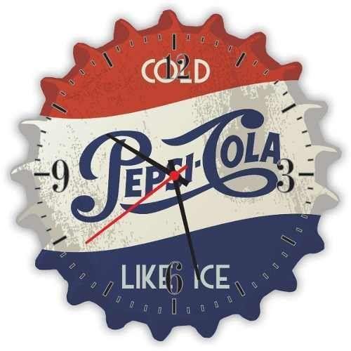Relógio De Parede Em Madeira Pepsi Tampinha