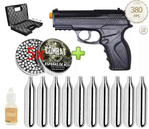 Pistola de Pressão Wingun C11 Rossi 4,5mm CO2 428 FPS + 1500 Esferas + 10 cilindros CO2 + Maleta Combat + Óleo