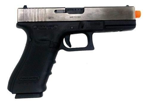 Pistola Airsoft We Glock G18b Silver 18c Gás Blowback Gbb G4