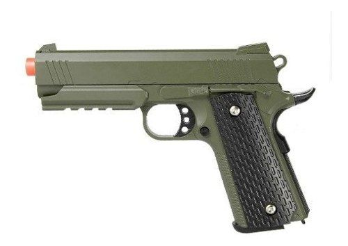Pistola Airsoft Spring 1911 Warrior Galaxy G25 Full Metal Verde Oliva