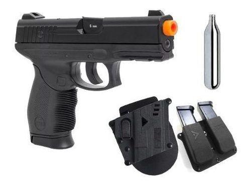 Pistola Airsoft CO2 PT24/7 KWC Polímero 6mm + Coldre + Porta Mag