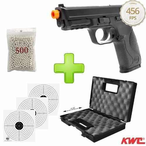 Kit Pistola Airsoft Co2 Kwc Mp40 Slide Metal + Alvos + Maleta Combat