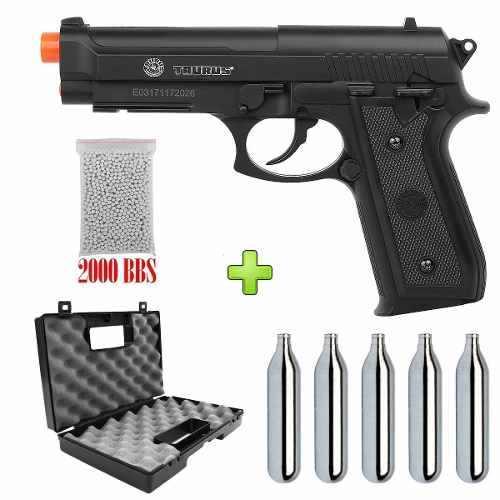 Pistola Airsoft Co2 Cybergun Pt 92 Nylon + Case Combat + 5 Co2+ 2000bbs