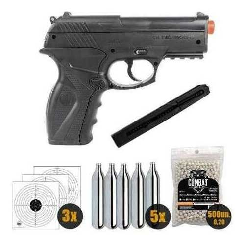 Pistola de Airsoft Wingun C11 6mm CO2 492 FPS + 5 CO2 + 500 BBs + Alvos