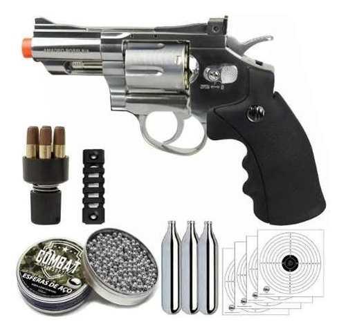 Revolver De Pressão Rossi 708 Esfera De Aço 4,5mm Co2 Airgun + Alvo + CO2 + Esferas