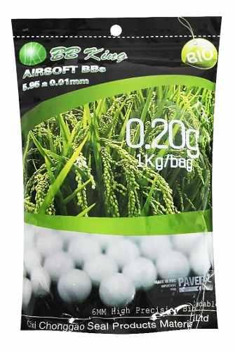 Munição Airsoft Esferas BBs 6mm 0,20g BB King Biodegrádevel - Pacote 5000un