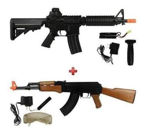 Airsoft Aeg Bivolt Rifle Fuzil Cyma M4 CM176 + Ak-47 CM022