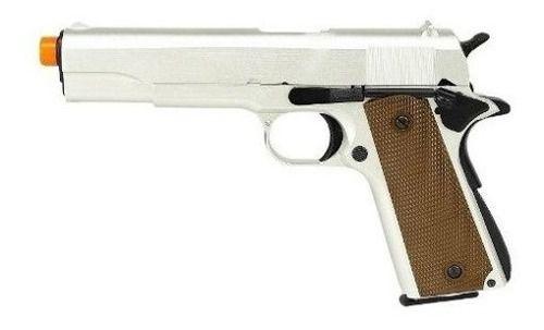 Pistola De Airsoft Gbb Green Gás M1911 A1 R31 Silver Full Metal