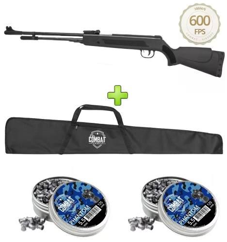 Carabina de Pressão Black Fixxar LAZ 103 Polímero 600 fps 5.5mm + 250 Chumbinhos + Capa