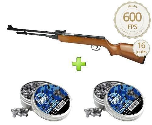 Carabina Pressão 5.5mm Fixxar Laz102 600fps + Chumbinhos 250