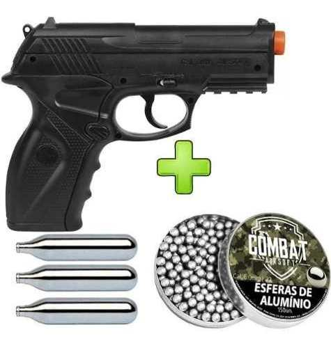 Pistola de Airsoft Wingun C11 6mm CO2 492 FPS + 3 CO2 + 150 Esferas de Alumínio