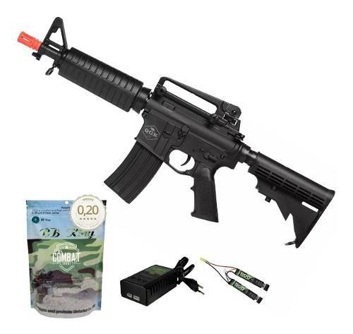 Rifle De Airsoft Elétrico M4 Qgk Echo S-1 Aeg Bivolt Cqb Ras + 4000 BBs 0,20g