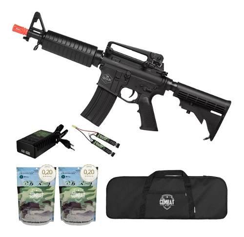 Rifle De Airsoft Elétrico M4 Qgk Echo S-1 Aeg Bivolt Cqb Ras + Capa + 8000 BBs 0,20g
