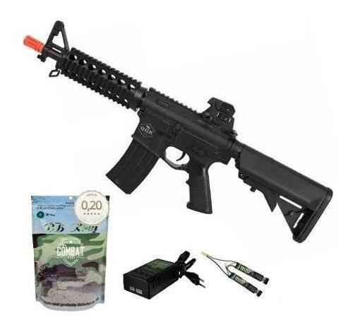 Rifle De Airsoft Elétrico M4 Qgk Zulu S-1 Aeg Bivolt Cqb + 4000 BBs 0,20g