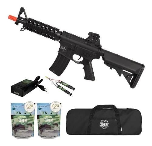 Rifle De Airsoft Elétrico M4 Qgk Zulu S-1 Aeg Bivolt Cqb + Capa + 8000 BBs 0,20