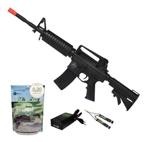 Rifle De Airsoft Elétrico M4 Qgk Mike S-1 Aeg Bivolt Ras + 4000 BBs 0,20g