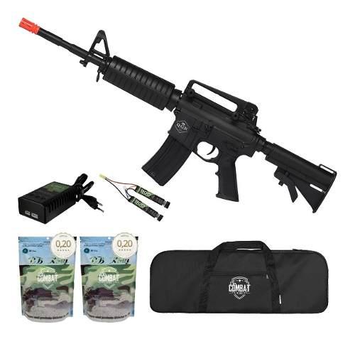 Rifle De Airsoft Elétrico M4 Qgk Mike S-1 Aeg Bivolt Ras + Capa + 8000 BBs 0,20g