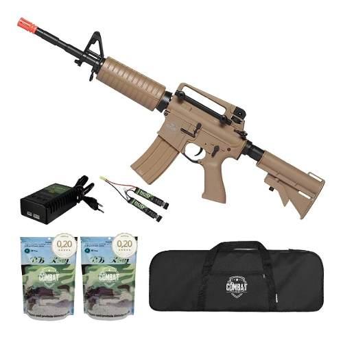 Rifle De Airsoft Elétrico M4 Qgk Mike S-2 Aeg Bivolt Ras + Capa + 8000 BBs 0,20g