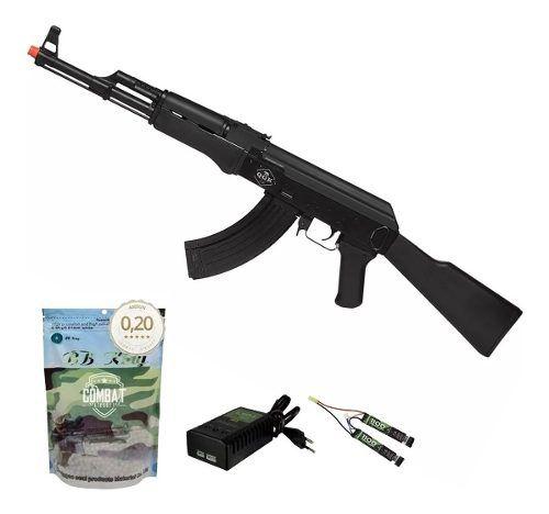 Rifle De Airsoft Elétrico Ak47 Victor Qgk Aeg Bivolt + 4000 BBs 0,20g