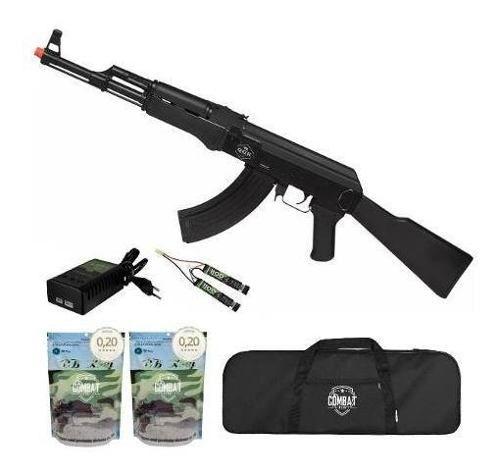 Rifle De Airsoft Elétrico Ak47 Victor Qgk Aeg Bivolt + Capa + 8000 BBs 0,20g
