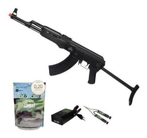 Rifle Airsoft Elétrico Ak47 Victor Tactical Qgk Aeg Bivolt + 4000 BBs 0,20g