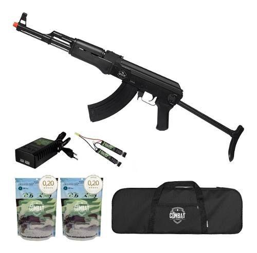 Rifle Airsoft Elétrico Ak47 Victor Tactical Qgk Aeg Bivolt + Capa + 8000 BBs 0,20g