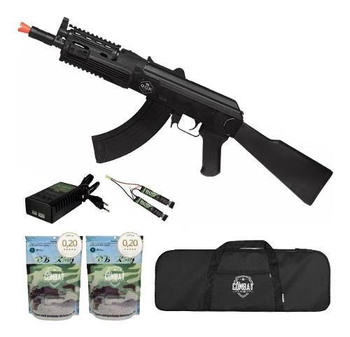 Rifle De Airsoft Elétrico Ak47 Sierra Ris Qgk Aeg Bivolt + Capa + 8000 BBs 0,20