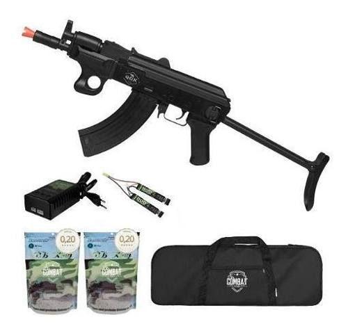 Rifle De Airsoft Elétrico Ak47 Alfa Tactical Qgk Aeg Bivolt + Capa + 8000 BBs 0,20g