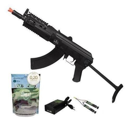 Rifle de Airsoft Elétrico Ak47 Sierra Tactical Ris Qgk Aeg Bivolt + 4000 BBs 0,20g