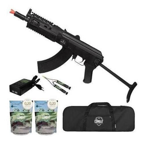 Rifle de Airsoft Elétrico Ak47 Sierra Tactical Ris Qgk Aeg Bivolt + Capa + 8000 BBs 0,20g