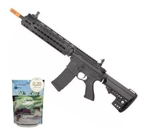 Rifle Airsoft Cyma M4 Long Keymod CM619 Bivolt 6.0mm Cyma + 4000 BBs 0,20g