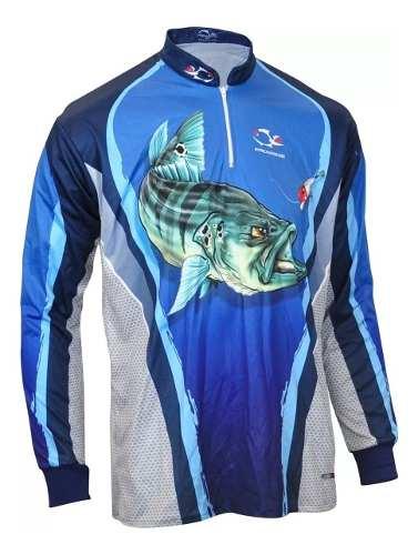 Camiseta De Pesca UV Faca Na Rede Combat S 19 Tucunaré Azul