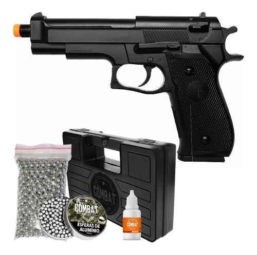 Pistola Airsoft Spring Saigo M92 + Bb Alumínio Maleta E Óleo