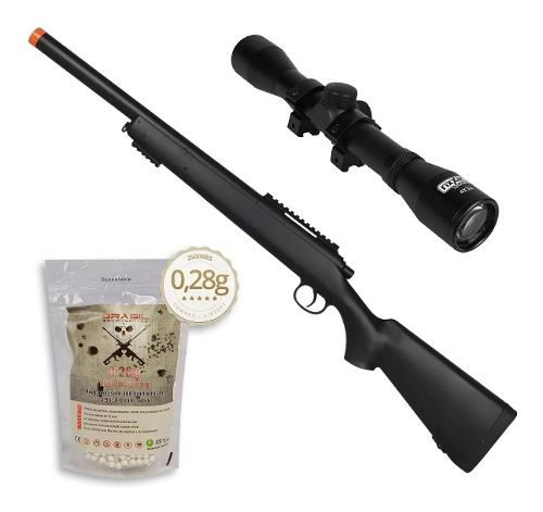 Rifle Fuzil Sniper Airsoft M52 400 FPS + Luneta 4x32 + 2500 BBs 0,28g 6mm