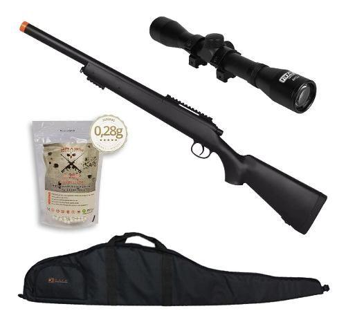 Rifle Fuzil Sniper Airsoft M52 400 FPS + Luneta 4x32 + Capa + 2500 BBs 0,28g 6mm