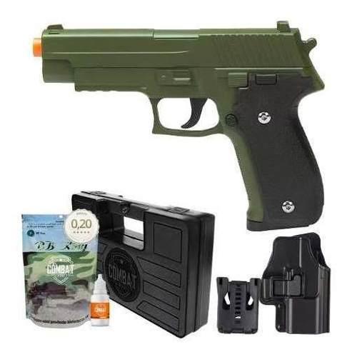 Pistola Airsoft Spring G26 Sig Sauer P226 Verde Oliva Full Metal + Kit Completo
