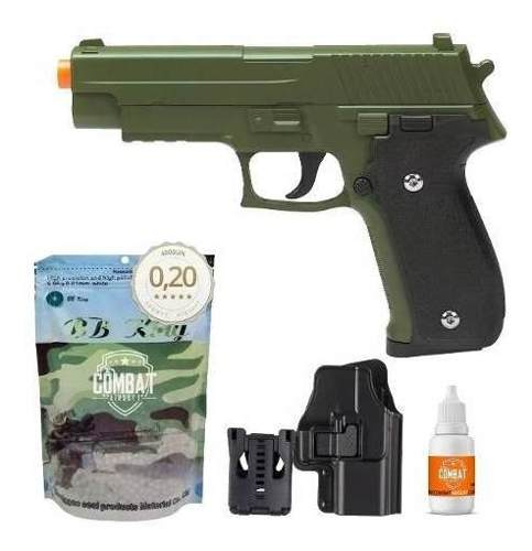 Pistola Airsoft Spring G26 Sig Sauer P226 Verde Oliva Full Metal  + Coldre + Bbs