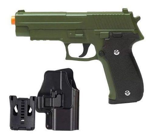 Pistola Airsoft Spring G26 Sig Sauer P226 Verde Oliva Full Metal + Coldre