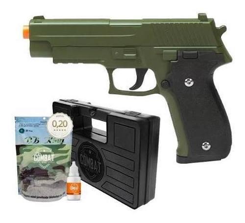 Pistola Airsoft Spring G26 Sig Sauer P226 Verde Oliva Full Metal + Acessórios