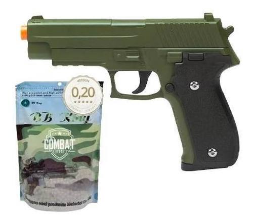 Pistola Airsoft Spring G26 Sig Sauer P226 Verde Oliva Full Metal  + 4000 Bbs