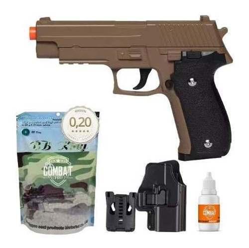 Pistola Airsoft Spring G26 Sig Sauer P226 Desert Tan Full Metal + Coldre + Bbs