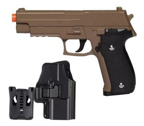 Pistola Airsoft Spring G26 Sig Sauer P226 Desert Tan Full Metal + Coldre